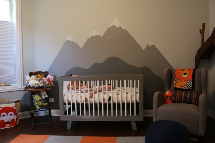 gender neutral nursery mountain mural